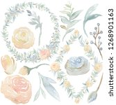 watercolor hand painted flowers.... | Shutterstock . vector #1268901163