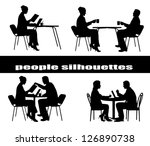 silhouettes of people at a table | Shutterstock .eps vector #126890738