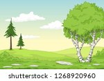 cartoon summer landscape with... | Shutterstock .eps vector #1268920960
