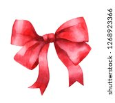 bow tie. red bow. watercolor...   Shutterstock . vector #1268923366