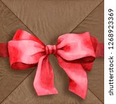 watercolor bow. red bow....   Shutterstock . vector #1268923369