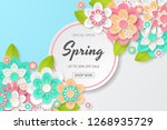spring sale background with... | Shutterstock .eps vector #1268935729