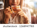 drink tea relax cosy photo with ... | Shutterstock . vector #1268947783