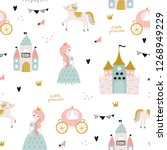 childish seamless pattern with... | Shutterstock .eps vector #1268949229