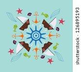 marine round  ornament | Shutterstock .eps vector #126895193