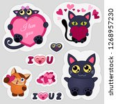 valentine's day love emoticons. ... | Shutterstock .eps vector #1268957230