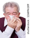 senior blows his nose with a...   Shutterstock . vector #126896189