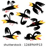 funny birds set. isolated crown ... | Shutterstock .eps vector #1268964913