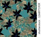 hawaiian flowers. seamless... | Shutterstock .eps vector #1268971939