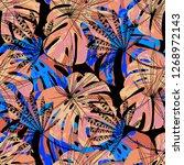 tropical leaves. seamles... | Shutterstock .eps vector #1268972143