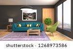 interior of the living room. 3d ... | Shutterstock . vector #1268973586