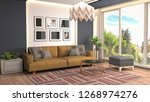 interior of the living room. 3d ... | Shutterstock . vector #1268974276