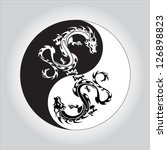 black and white dragon in yin... | Shutterstock .eps vector #126898823
