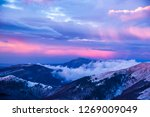 Sunset In Mountains. Winter...
