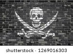 pirate flag on a brick wall  ... | Shutterstock .eps vector #1269016303