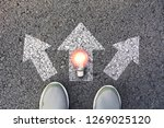 shoes standing  and light bulb... | Shutterstock . vector #1269025120