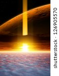 Dramatic apocalyptic background, end of world, spotlight in dark sky, armageddon, asteroid impact, planet mars. Elements of this image furnished by NASA/JPL-Caltech - stock photo