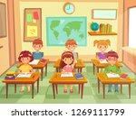 pupil kids at classroom.... | Shutterstock . vector #1269111799