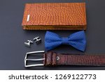brown leather wallet  blue bow... | Shutterstock . vector #1269122773