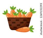 wicker basket with fresh carrots | Shutterstock .eps vector #1269152293