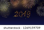 colorful fireworks set bursting ... | Shutterstock .eps vector #1269159709