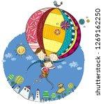 family in hot air balloon   Shutterstock .eps vector #1269162250