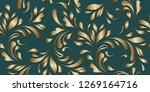 golden flowery pattern. floral... | Shutterstock .eps vector #1269164716