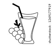 grapes juice cup with straw | Shutterstock .eps vector #1269177919