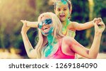 mother and daughter playing at... | Shutterstock . vector #1269184090