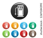 electric recharge station icons ...   Shutterstock . vector #1269184390