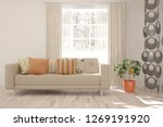 white room with sofa and winter ... | Shutterstock . vector #1269191920