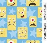 seamless cute monsters pattern. ... | Shutterstock .eps vector #1269196603