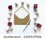 an open envelope on a white... | Shutterstock . vector #1269215506
