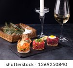 beef tartare  salmon and tuna... | Shutterstock . vector #1269250840