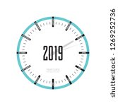 year clock icon in flat style ...