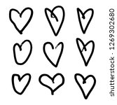 set of nine hand drawn heart.... | Shutterstock .eps vector #1269302680