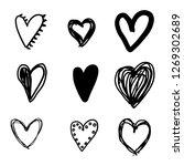 set of nine hand drawn heart.... | Shutterstock .eps vector #1269302689