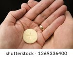 cupped hands of a man holding a ... | Shutterstock . vector #1269336400