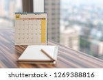 notebook diary with pencil on... | Shutterstock . vector #1269388816