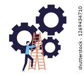 business man climb stairs gears ...   Shutterstock .eps vector #1269434710