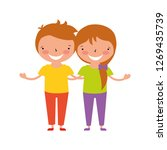 happy girl and boy holding each ... | Shutterstock .eps vector #1269435739