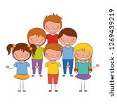 smiling group of kids on white... | Shutterstock .eps vector #1269439219