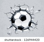 soccer ball breaking the wall.... | Shutterstock .eps vector #126944420