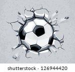 soccer ball breaking the wall.... | Shutterstock .eps vector #126944420