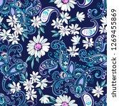 daisy paisley   seamless...   Shutterstock .eps vector #1269455869