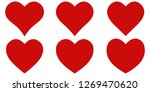 set red shape heart icon ... | Shutterstock .eps vector #1269470620