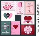 set of 8 valentine cards | Shutterstock .eps vector #126951206