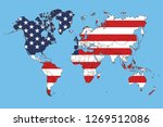 world map and usa flag | Shutterstock .eps vector #1269512086