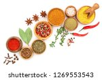 Mix Of Spices In Wooden Bowl...