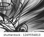 abstract black and white waves  ... | Shutterstock . vector #1269556813